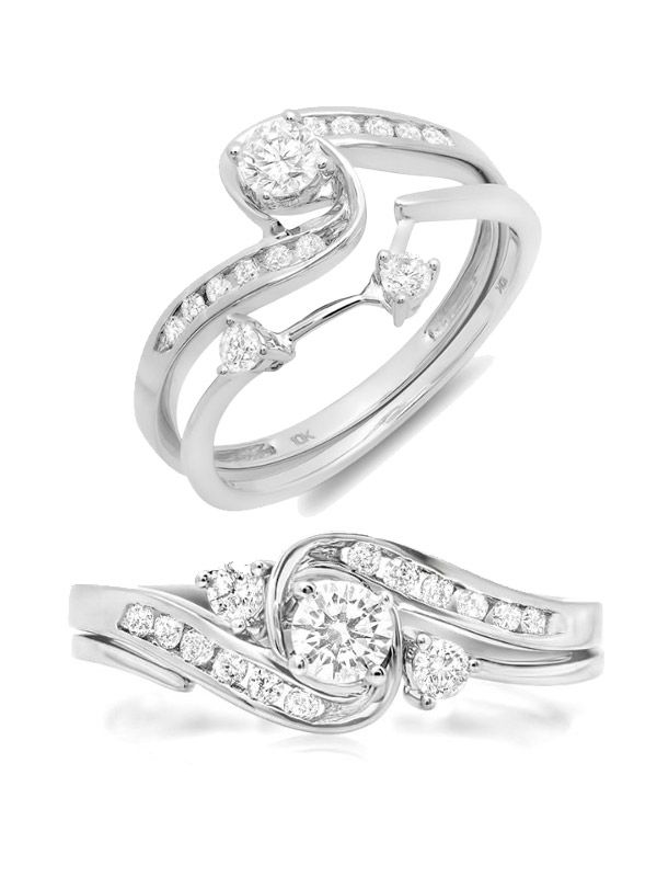 0.50 Carat (ctw) 10k Gold Round Diamond Ladies Swirl Bridal Engagement Ring Matching Band Set 1/2 CT