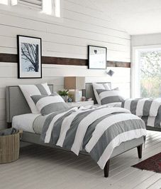 guest room:  Comforter, Duvet Covers, Boys Rooms, Twin Beds,  Puff, Beaches Houses, Guest Rooms, Gray Stripes, West Elm