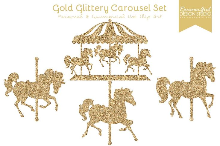 GOLD CAROUSEL AND HORSES CLIP ART PRINTABLE