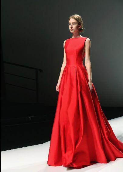 2015 nya röda satin brudklänning mode aftonklänning aline