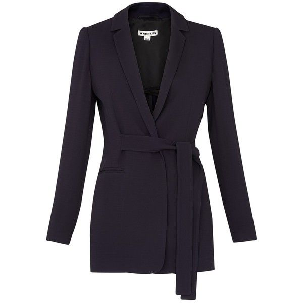 Whistles Belted Soft Crepe Jacket, Navy ($280) ❤ liked on Polyvore featuring outerwear, jackets, tailored jacket, crepe jacket, whistles jacket, belted wrap jacket and slim fit jacket