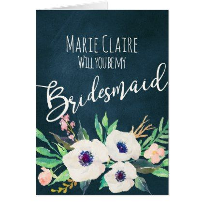 #bridesmaid - #Watercolor Flowers Anemone Pink White Card