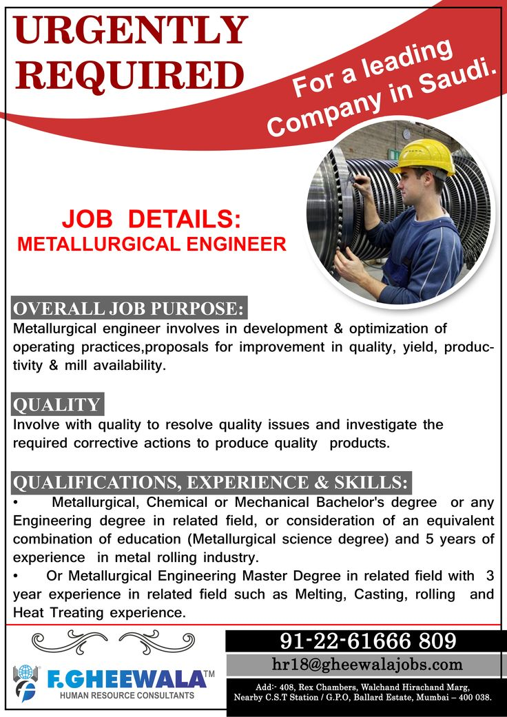 Urgently Required Metallurgical Engineer for a Leading Company in - metallurgical engineer sample resume