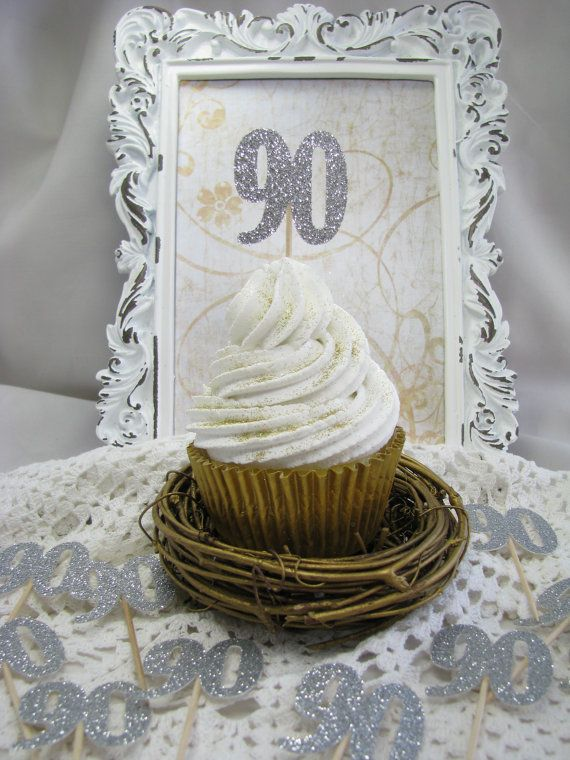 90 Birthday Cupcake Toppers Number Birthday by GoldenNestStudio