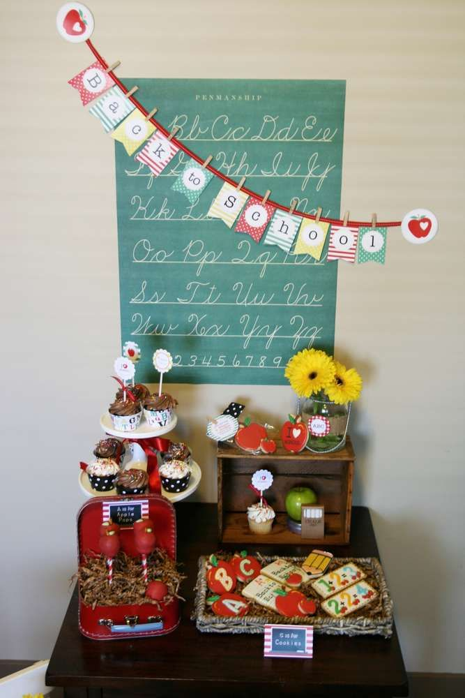 Back to School Party dessert table! See more party planning ideas at CatchMyParty.com!