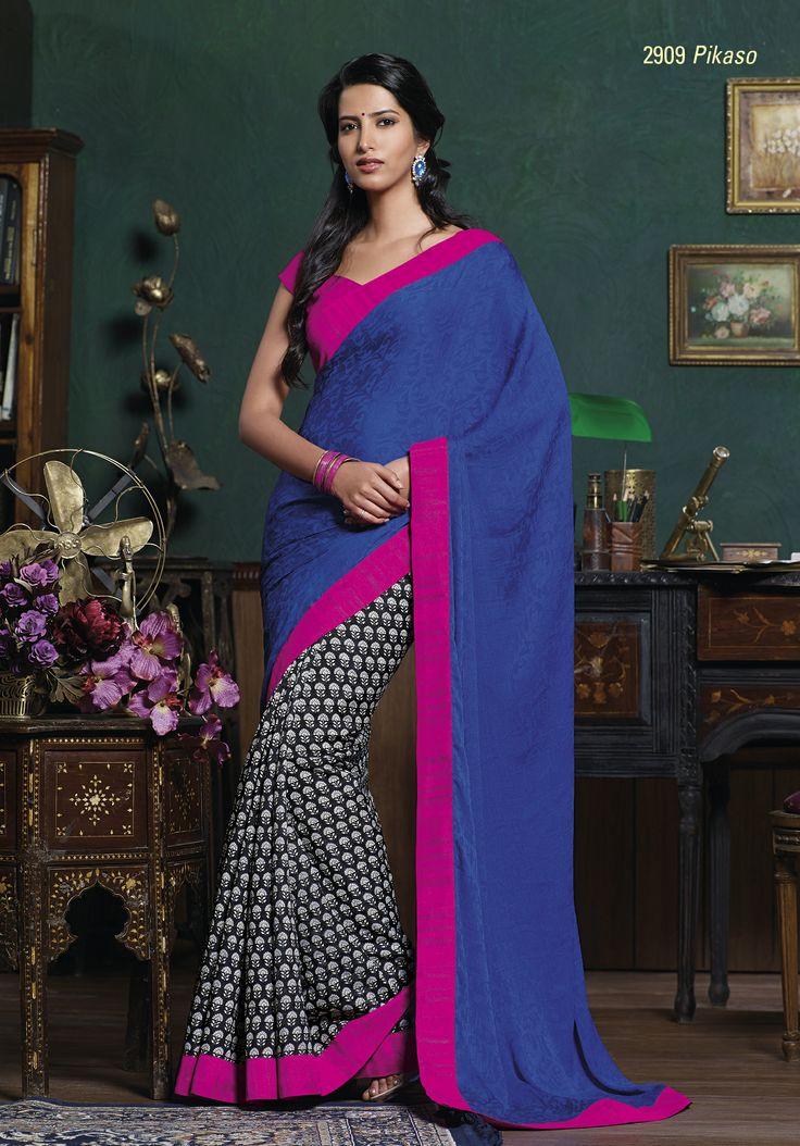 This black & white printed saree look magnificent with dark blue color pallu & pink border patta