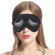 Breathable Pure Silk Eye Mask with Eyelashes Pattern