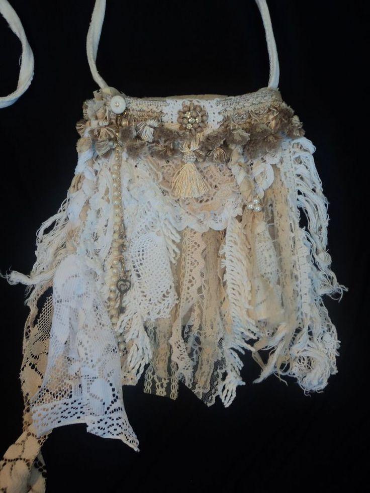 Handmade Vintage Lace Purse Boho Bag Shabby Chic Cross Body Hippie Fringe tmyers #Handmade #MessengerCrossBody