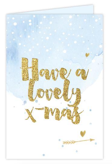 Super hippe en sweet kerst-verhuiskaart. Versierd met blauwe watercolor, goudlook, sneeuw, hanlettering, sterren en pijltjes! geheel zelf aan te passen.
