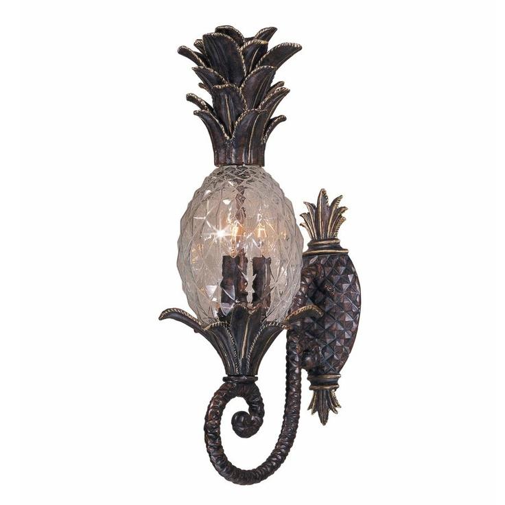 NEW 3 Light Tropical Outdoor Wall Lamp Lighting Fixture, Bronze, Pineapple  Glass