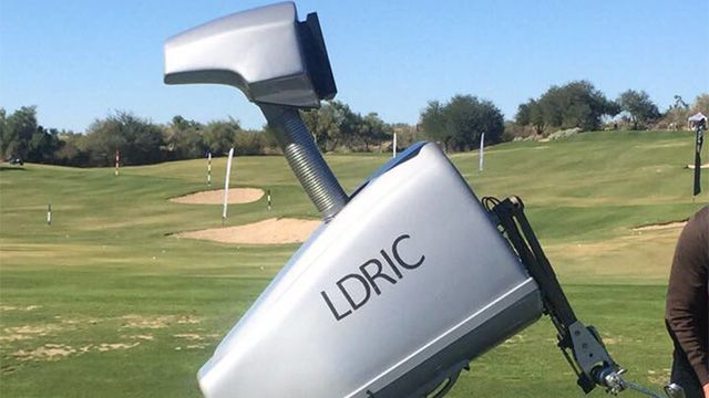LDRIC, the 7-foot tall, 600-pound, moveable talking golf robot participated in a Skills Challenge Friday at Grayhawk Golf Club in Scottsdale, Arizona, with 80 of the best junior All-Star golfers from around the country.