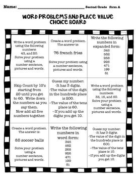Math Choice Boards are used to show understanding. They can make differentiation easier in your classroom. Choice boards are a great tool to use because they allow students to make choice while encouraging them to think critically.  There are 6 board in this set. Each board has 9 options to choose from. Each board is labeled so they can grab the same board later if needed. These are great at independent stations or can be used with partners.