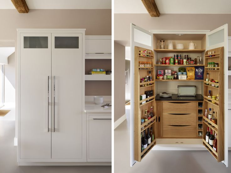 Our new Linear Pantry Larder, complete with wine rack, oak door-mounted spice racks, removable trays, granite cold shelf and soft-close oak drawers. Like all of our primed kitchen furniture, it can be hand painted in any colour you choose.  #kitchenstorage #kitchens