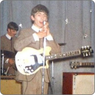Rare color photo of #GeorgeHarrison on stage with is #Maton MS500 Mastersound #guitar #electricguitar #beatlesgear #thebeatles #beatlemania #beatleslive #classicrock