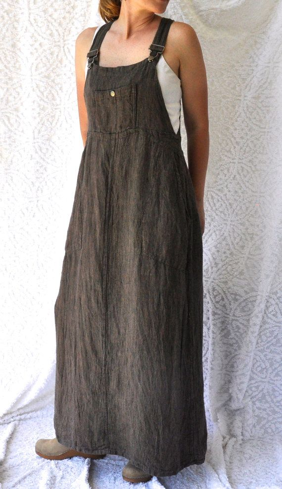 Long Boho FLAX Overall JUMPER Dress/ Retro by NettysGirlVintage, $29.00