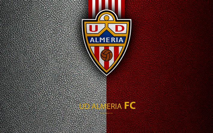Download wallpapers UD Almeria FC, 4K, Spanish Football Club, leather texture, logo, LaLiga2, Segunda Division, Almeria, Spain, Second Division, football