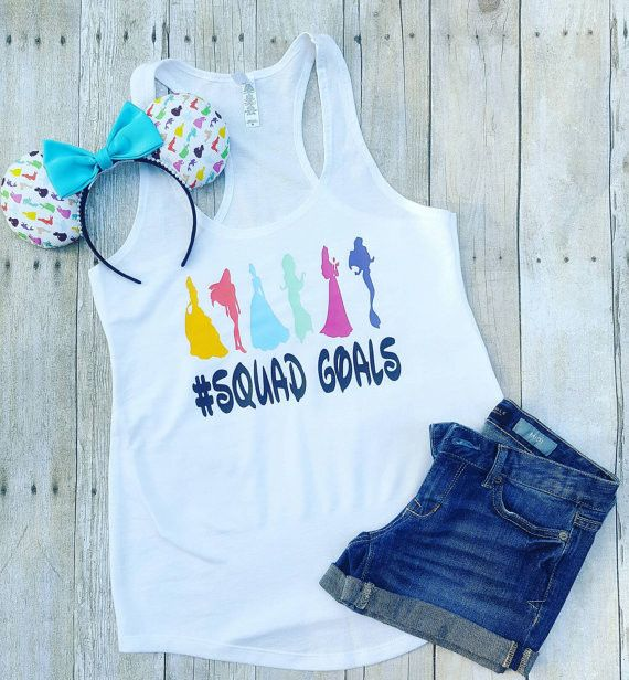 "Thank you for stopping by my shop! I am excited to have you here! Disney Addicts this top is for you!! My ""Princess with Squadgoals"" is perfect for your Disney vacation! ***This listing is for the tan"