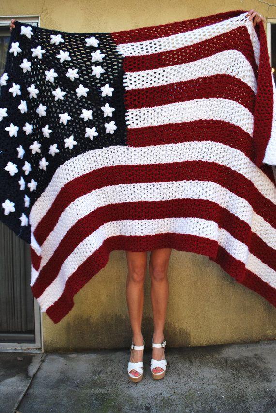 Vintage Stars and Stripes American Flag Throw Blanket. 118.00, via Etsy.