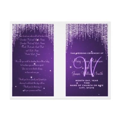 Wedding Program Night Dazzle Purple Flyer   $1.00