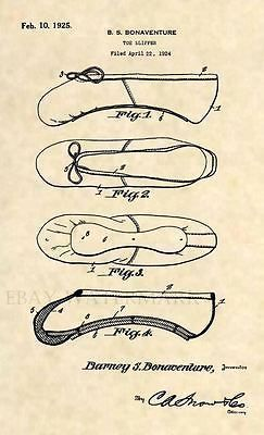 Official Ballet Slipper US Patent Art Print -Vintage 1925 Antique Ballerina 366 #patentartvintage