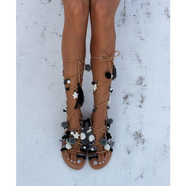 Greek Sandals Gladiator Sandals Leather Sandals Black & White Boho... ($165) ❤ liked on Polyvore featuring shoes, sandals, gladiator & strappy sandals, grey, women's shoes, pom pom gladiator sandals, black lace up sandals, grey gladiator sandals, strappy sandals and leather sandals