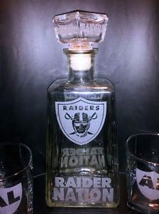 "Etched Oakland Raiders ""Raider Nation"" 1800 Silver Tequila Bottle Set 