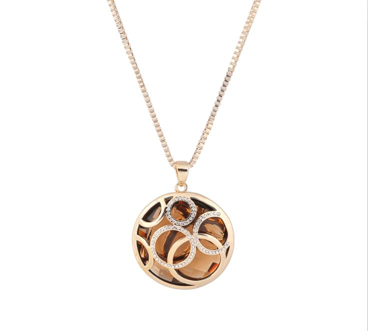 Parati Rose Gold Plated Round Pendant for Women Sweater Chain Necklace with Brown Austrian Crystals Fashion Jewelry