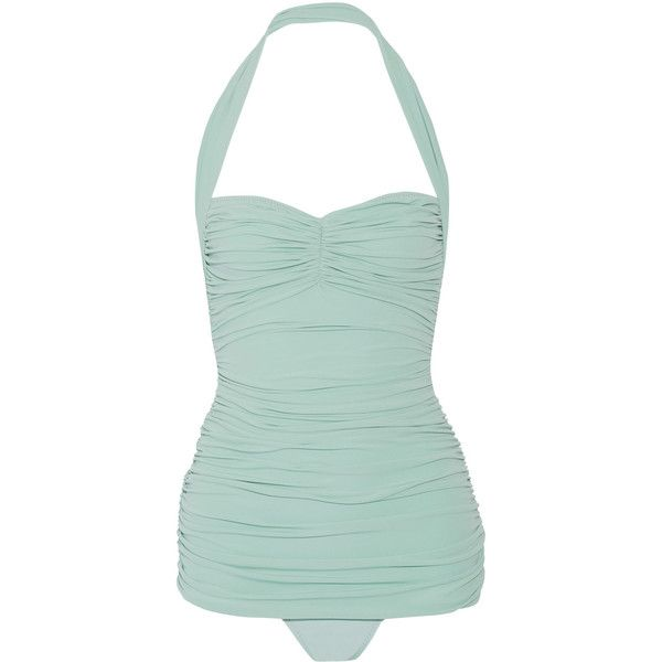 Norma Kamali - Bill Mio Ruched Halterneck Swimsuit (3,205 MXN) ❤ liked on Polyvore featuring swimwear, one-piece swimsuits, swim suits, mint, retro one piece swimsuit, high waisted bathing suits, retro high waisted bikini and halter bikini tops