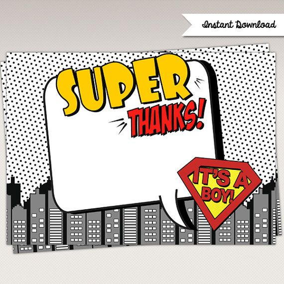 Instant Download Pop Art Superhero Baby Shower Thank You by PNArt