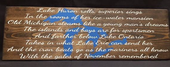 Edmund Fitzgerald Song Lyric Sign Rustic Lake Sign Song