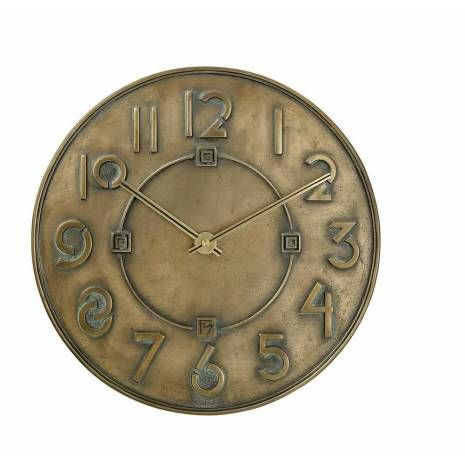 Antique Bronze Finished Resin Bulova Wall Clock with Square Geometric Accents