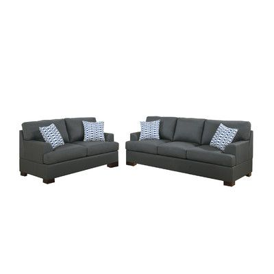 Poundex Bobkona Montega Microfiber Sofa and Loveseat Set & Reviews | Wayfair