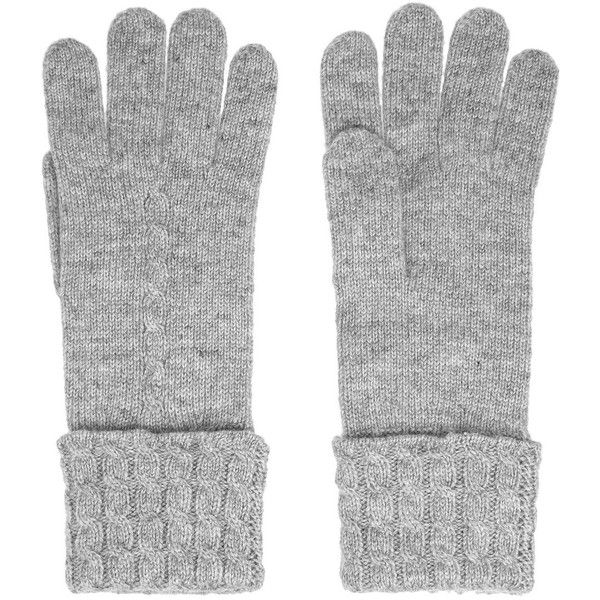 N.Peal Cashmere Cashmere gloves ($65) ❤ liked on Polyvore featuring accessories, gloves, socks/gloves, 32. miscellaneous accessories., grey, cashmere gloves, gray gloves, cable knit gloves, n.peal cashmere and grey gloves