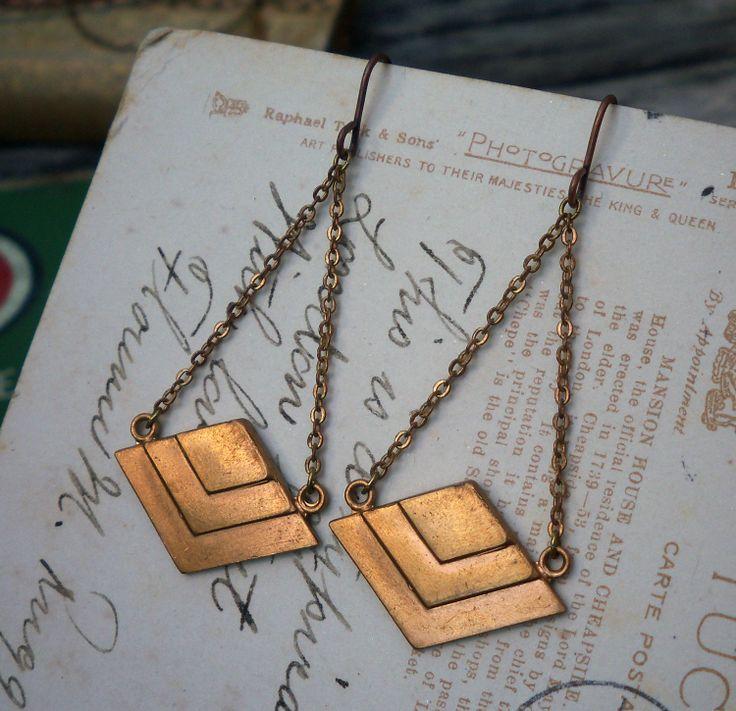 chevron earrings $16 on Etsy: 16 00, Poorsparrow, Etsy, Earrings 16, Pyramid Dangle, Chevron Jewelry, Brass Earrings, Chevron Earrings, Vintage Brass