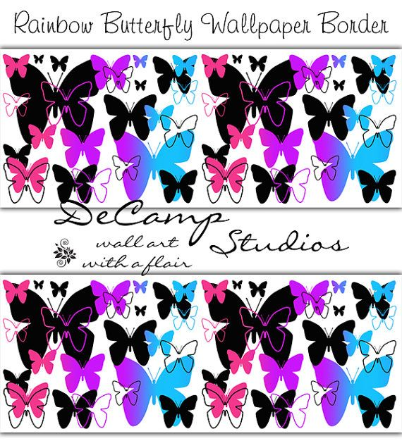 Rainbow Butterfly Wallpaper Border Wall Art Decals for ...