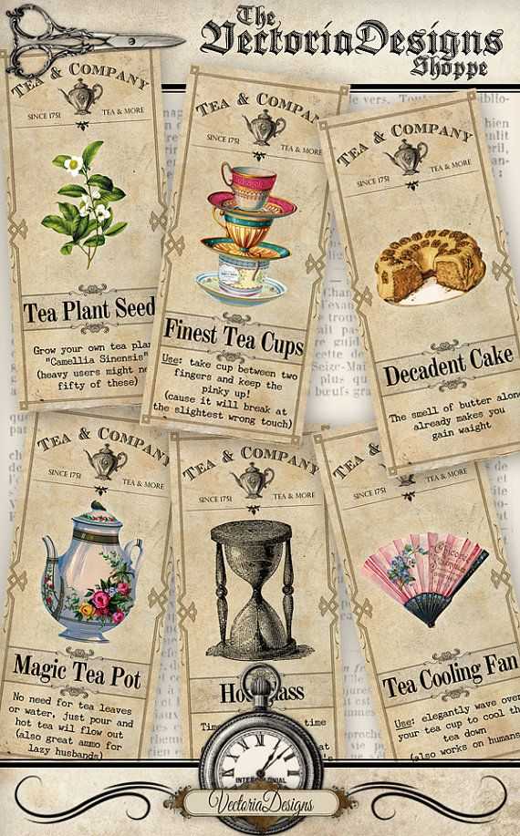 Tea Apothecary Labels tea shop party printable hobby crafting scrapbooking…