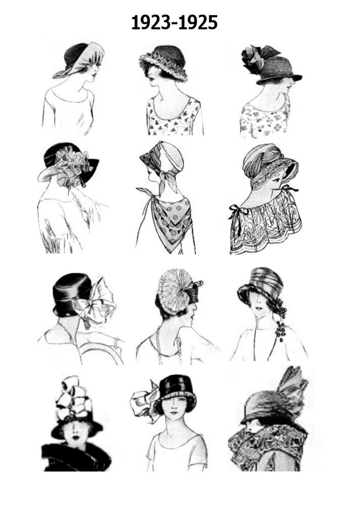Inspiration for flapper style hats.