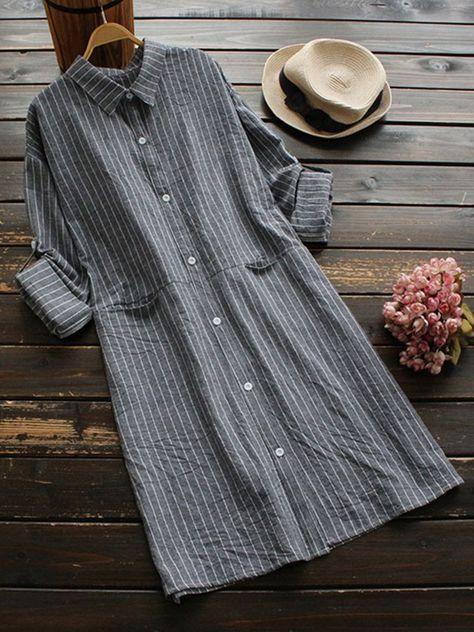 Frauen Streifen Umlegekragen Knopf Langarm Shirt Kleider