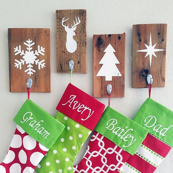 set of 2 christmas stocking holders rustic christmas wall decor stocking holders individual stocking holder - Christmas Stocking Design Ideas
