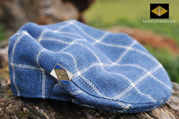 Cap in blue and white tweed. By Turnstylewear. turnstylewear.com