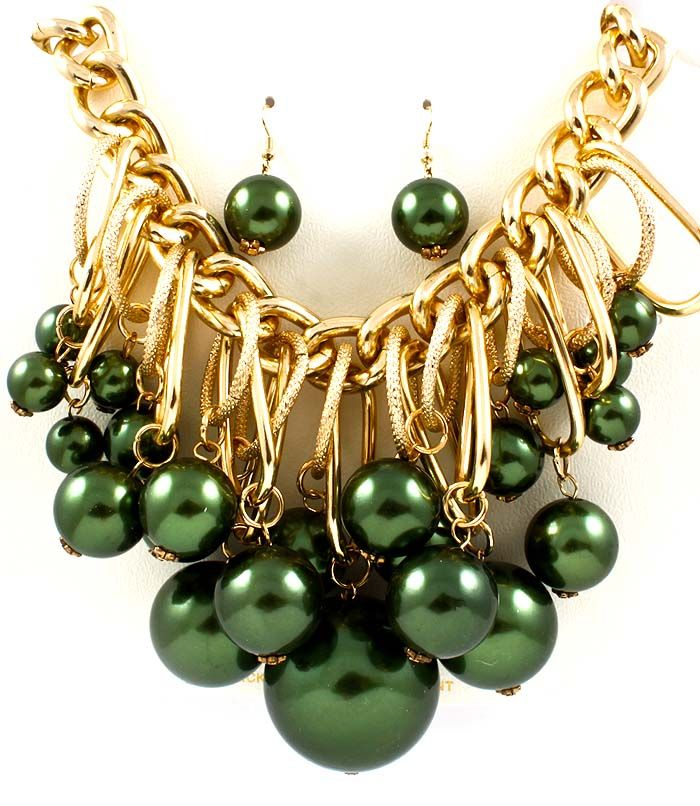 NECKLACE AND EARRING SET / GORGEOUS / GLAMOROUS METALLIC BALL / BEAD / CHUNKY / THICK CHAIN / MULTI DANGLE / 18 INCH LONG