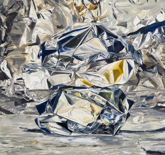 Paintings of crumpled aluminum foil by William Daniels