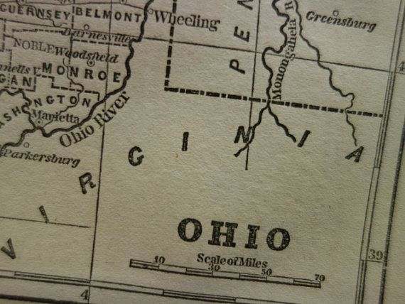 OHIO old map of Ohio  original 1854 antique by DecorativePrints