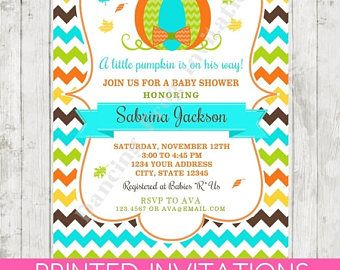 SALE Little Pumpkin Baby Shower Invitation - Printed Pumpkin Baby Shower Invitations by Dancing Frog Invitations