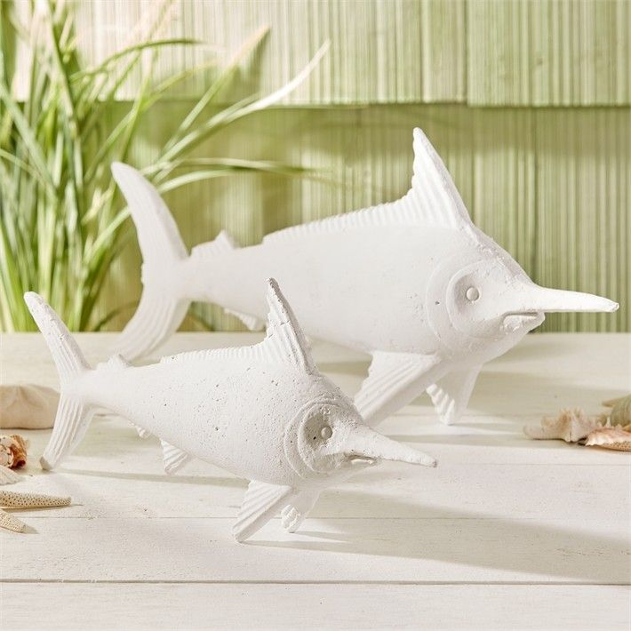 Set of 2 Decorative Accent White Swordfish from The Well Appointed House