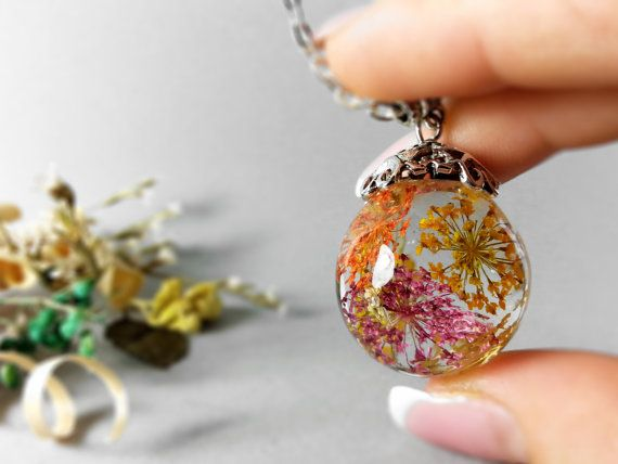 Queen Anne S Lace Resin Pendant Resin Sphere Necklace