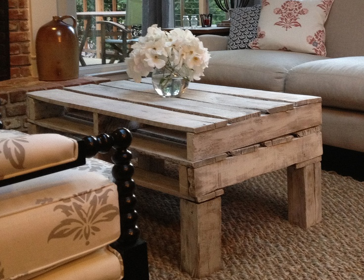White Washed Pallet Coffee Table For The Home Pinterest Decks Diy Pallet And Shipping