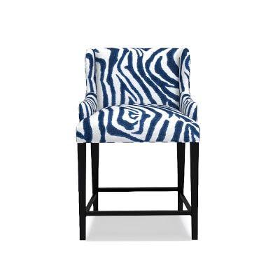 Ashbury Dining Counter Stool Printed Zebra Ikat Blue