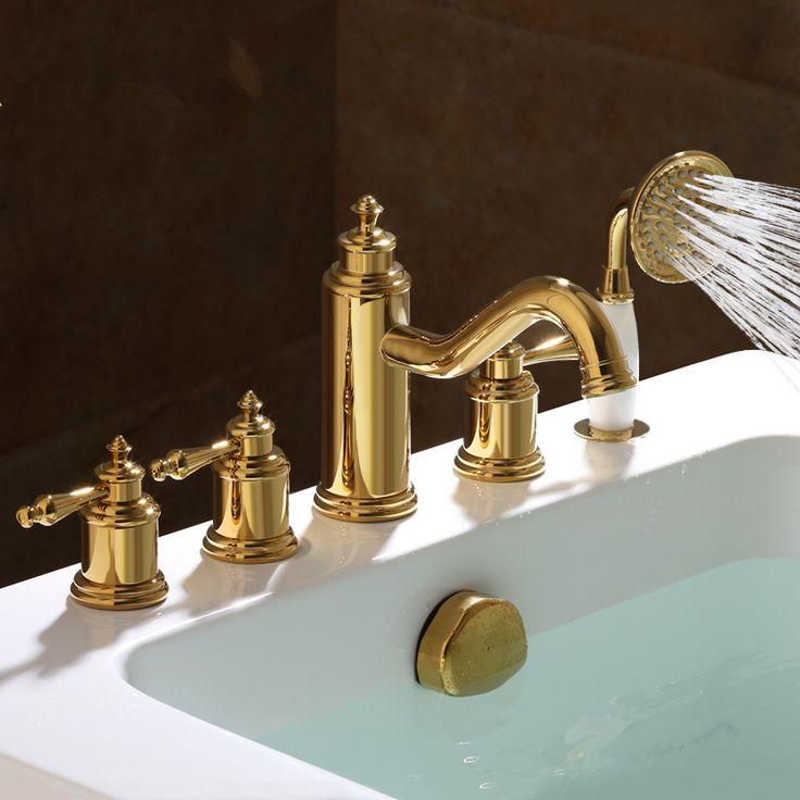 ==> [Free Shipping] Buy Best 2017 Wholesale New Arrival Premium Luxurious Home Decor Antique Brown 5pcs Tub Faucet Bathtub Fillers Bath Shower Mixer Taps Online with LOWEST Price   32805112265