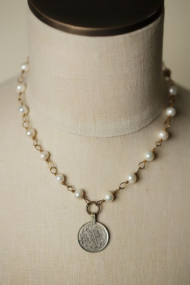"Anne Vaughan Designs - Eat Love Pray 18.5"" Coin Focal Necklace, $48.00 (http://www.annevaughandesigns.com/eat-love-pray-handmade-coin-focal-necklace-for-women/)"